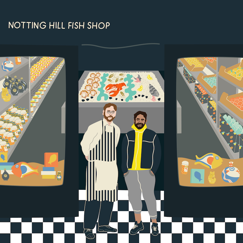 Notting Hill Fish Shop, Shop, Covid 19, Retail, highstreet, fishmonger, Appear Here, Pop Up